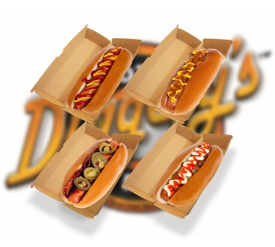 Diggety's Hot Dogs, these are four of our most popular hot dogs